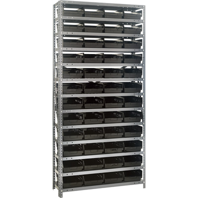 Quantum Storage Single Side Metal Shelving Unit With 48 Bins — 12in. x 36in. x 75in. Rack Size, Black, Model# 1275-107 BK