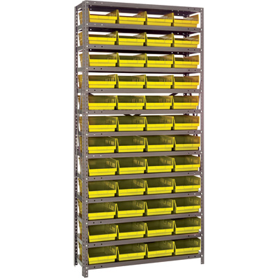 Quantum Storage Single Side Metal Shelving Unit With 48 Bins — 12in. x 36in. x 75in. Rack Size, Yellow, Model# 1275-107 YW