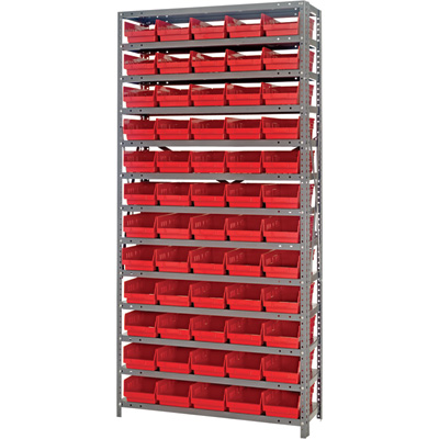 Quantum Storage Single Side Metal Shelving Unit With 60 Bins — 12in. x 36in. x 75in. Rack Size, Red, Model# 1275-102 R