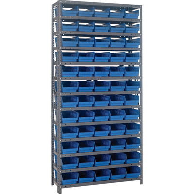 Quantum Storage Single Side Metal Shelving Unit With 60 Bins — 18in. x 36in. x 75in. Rack Size, Blue, Model# 1875-104 BL