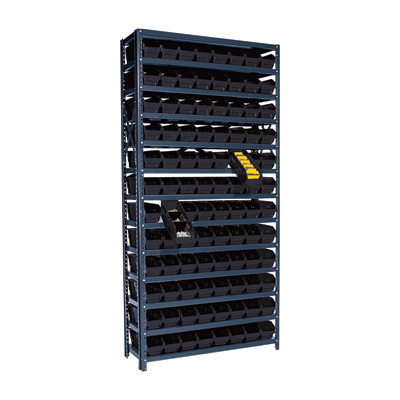 Quantum Storage Single Side Metal Shelving Unit With 96 Bins — 12in. x 36in. x 75in. Rack Size, Black, Model# 1275-101 BK