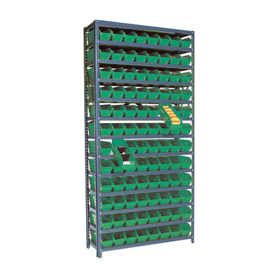 Quantum Storage Single Side Metal Shelving Unit With 96 Bins — 12in. x 36in. x 75in. Rack Size, Ivory, Model# 1275-101 IV