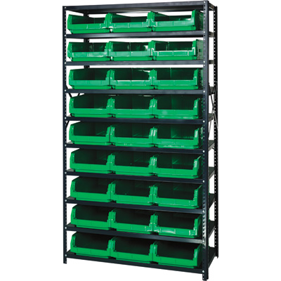 Quantum Storage Heavy Duty Metal Shelving Unit With 27 Magnum Bins — 18in. x 42in. x 75in. Rack Size, Green, Model# MSU 531 GN