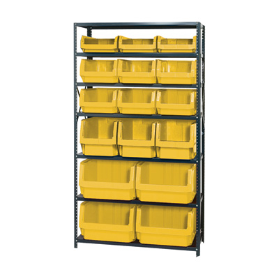 Quantum Storage Heavy Duty Metal Shelving Unit With 16 Assorted Magnum Bins — 18in. x 42in. x 75in. Rack Size, Yellow, Model# MSU 16-MIX Y