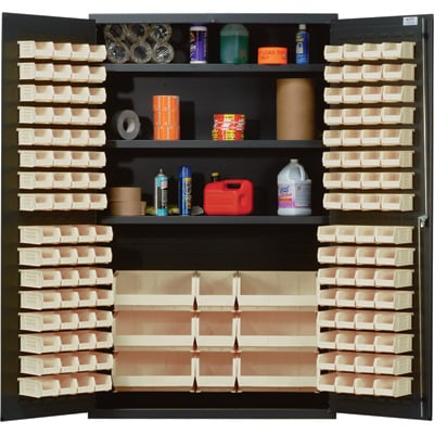 Quantum Storage Cabinet With 137 Bins — 48in. x 24in. x 78in. Size, Ivory