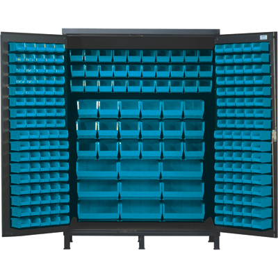 Quantum Storage Cabinet With 227 Bins — 60in. x 24in. x 84in. Size, Blue
