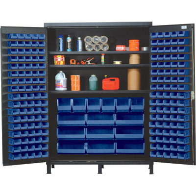 Quantum Storage Cabinet With 185 Bins — 60in. x 24in. x 84in. Size, Blue