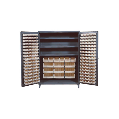 Quantum Storage Cabinet With 185 Bins — 60in. x 24in. x 84in. Size, Ivory