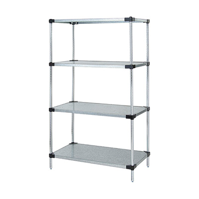 Quantum Solid Shelf Unit System — 86in.H Unit with 4 60in.W x 24in.D Shelves, Model# WR86-2460SG