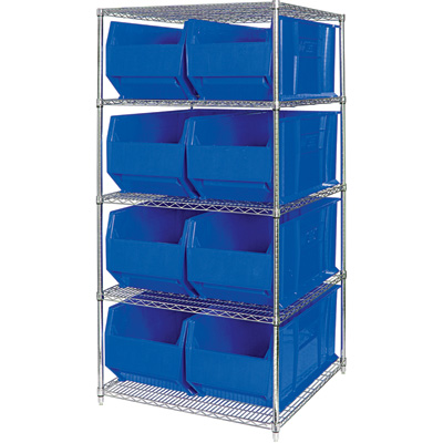 Quantum Storage Single Side Metal Shelving Unit with 8 Hulk Bins — 36in.L x 48in.W x 86in.H, Blue, Model# WR5-997B