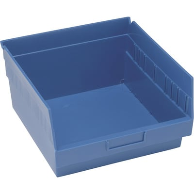 Quantum Storage Store-More 6in. Shelf Bin — 11 5/8in.L x 11 1/8in.W x 6in.H Size, Blue, Carton of 8