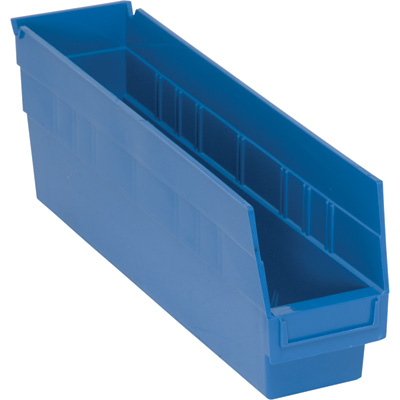 Quantum Storage Store-More 6in. Shelf Bin — 17 7/8in.L x 4 1/8in.W x 6in.H Size, Blue, Carton of 20