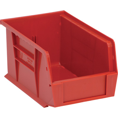 Quantum Storage Heavy-Duty Ultra Stacking Bins — 9 1/4in. x 6in. x 5in. Size, Red, Carton of 12