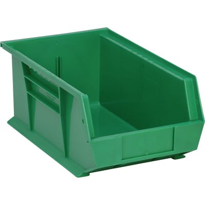 Quantum Storage Heavy-Duty Ultra Stacking Bins — 13 5/8in. x 8 1/4in. x 6in. Size, Green, Carton of 12