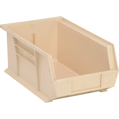 Quantum Storage Heavy-Duty Ultra Stacking Bins — 13 5/8in. x 8 1/4in. x 6in. Size, Ivory, Carton of 12