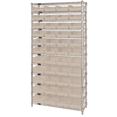 Quantum Storage Single Side Wire Chrome Shelving Unit with 44 Bins — 36in.W x 12in.D x 74in.H, Ivory, Model# WR12107IV