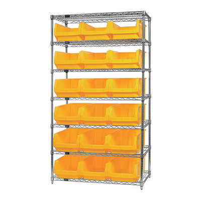 Quantum Storage Single Side Wire Chrome Shelving Unit with 18 Magnum Bins — 18in.L x 42in.W x 74in.H, Yellow, Model# WR7532YL