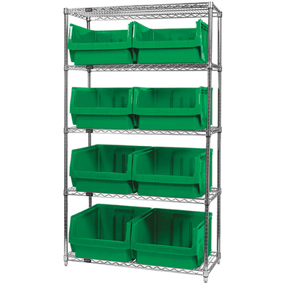 Quantum Storage Single Side Wire Chrome Shelving Unit with 8 Magnum Bins — 18in.L x 42in.W x 74in.H, Green, Model# WR5543GN