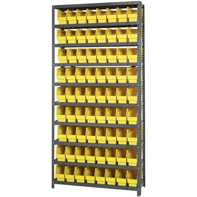 Quantum Storage Metal Shelving Unit with 72 Bins — 36in.W x 12in.D x 75in.H, Yellow, Model# 1275-201YL
