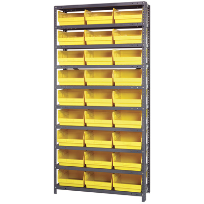 Quantum Storage Metal Shelving Unit with 27 Bins — 36in.W x 12in.D x 75in.H, Yellow, Model# 1275209YL