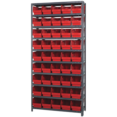 Quantum Storage Metal Shelving Unit with 45 Bins — 36in.W x 18in.D x 75in.H, Red, Model# 1875204RD