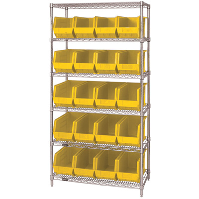 Quantum Storage Single Side Wire Chrome Shelving Unit with 20 Ultra Bins — 18in.L x 36in.W x 74in.H, Yellow, Model# WR6265YL
