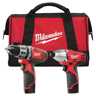"""FREE SHIPPING - Milwaukee M12 Cordless Combo Kit - 2-Tool Set, 3/8in. Hammer Drill/Driverl & 1/4in. Impact Driver, 12 Volt, Model# 2497-22"""