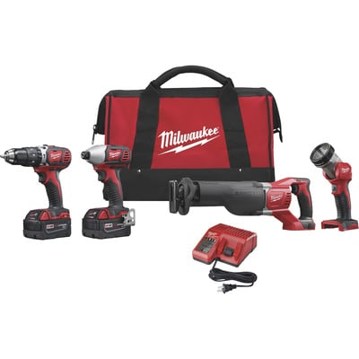 Milwaukee M18 Li-Ion Cordless Power Tool Set — 4-Tool Set, With 2 Batteries, Model# 2696-24