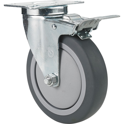 Fairbanks Swivel Total Locking Caster — 5in. x 1 1/4in., Model# 14035022