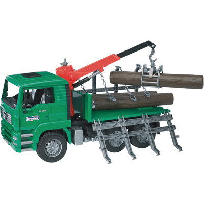 """Bruder MAN Timber Truck with Loading Crane and 3 Logs - 1:16 Scale, Model# 02769"""