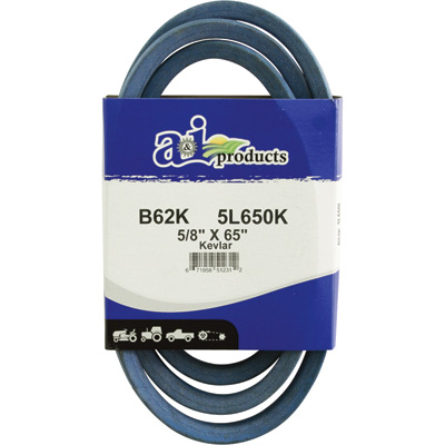 """A & I Products Blue Kevlar V-Belt with Kevlar Cord - 65in.L x 5/8in.W, Model# B62K/5L650K"""