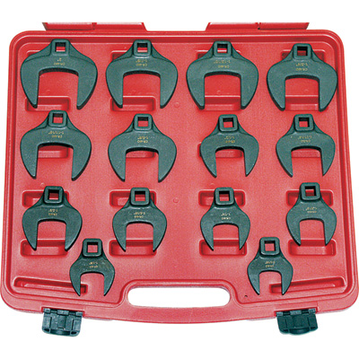 """T & E Tools JUMBO Metric Crowfoot Wrenches - 14-Pc. Set, 1/2in. Drive, Model# CF1400M"""
