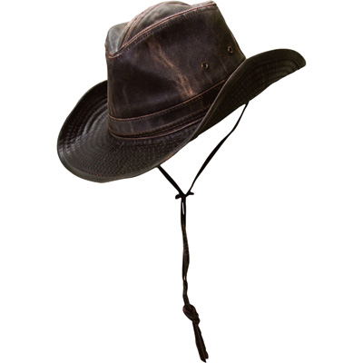 Men's Weathered Cotton Outback Hat - Brown, Medium, Model# MC127