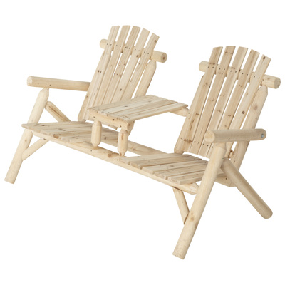 """Stonegate Designs Double Fir Wood Log Adirondack Chair with Table, Model# SS-CSN-150"""
