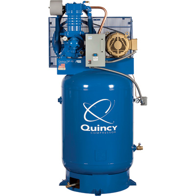 Quincy QP-10 Pressure Lubricated Reciprocating Air Compressor — 10 HP, 460 Volt, 3 Phase, 120-Gallon Vertical, Model# 3103DS1VCA46