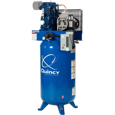FREE SHIPPING — Quincy QP-5 Pressure Lubricated Reciprocating Air Compressor - 5 HP, 230 Volt, 1 Phase, 80 Gallon Vertical, Model# 351CS80VCB