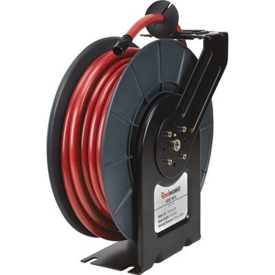 ReelWorks Lightweight Spring-Driven Hose Reel — With 3/8in. x 50ft. Hybrid Polymer Hose, Max. 300 PSI