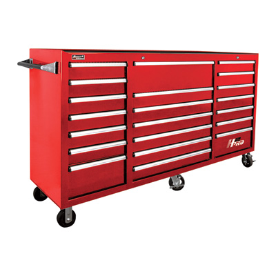 """Homak H2PRO 72in., 21-Drawer Rolling Tool Cabinet - Red, 72 1/8in.W x 22in.D x 46 3/4in.H, Model# RD040221720"""
