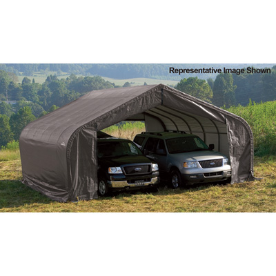 ShelterLogic Peak Style Double Wide Garage/Storage Shelter — Gray, 28ft.L x 22ft.W x 11ft.H, 2 3/8in. Frame, Model# 78731
