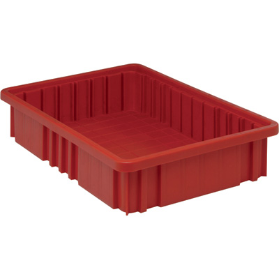 Quantum Storage Dividable Grid Container — 12-Pack, 16 1/2in.L x 10 7/8in.W x 3 1/2in.H, Red, Model# DG92035RD
