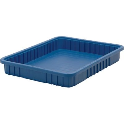 Quantum Storage Dividable Grid Container — 6-Pack, 22 1/2in.L x 17 1/2in.W x 3in.H, Blue, Model# DG93030BL