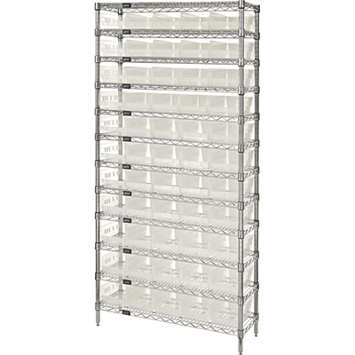 Quantum Storage Complete Single Side Wire Shelving Unit with 55 Bins — 36in.W x 18in.D x 74in.H, Clear, Model# WR12-104CL