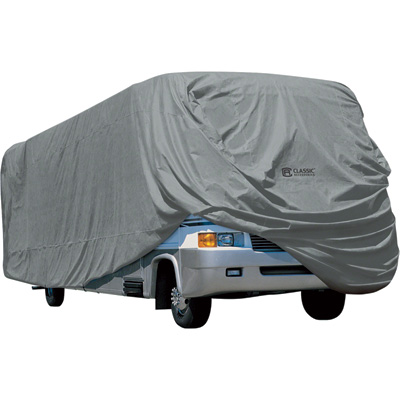 Classic Accessories OverDrive PolyPro 1 RV Cover — Gray, Fits 28ft.L–30ft.L x 122in.H Class A RVs, Model# 80-162-171001-00