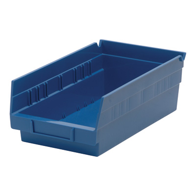 Quantum Storage Economy Shelf Bins — 11 5/8in. x 6 5/8in. x 4in. Size, Blue, Carton of 30, Model# QSB 102 B