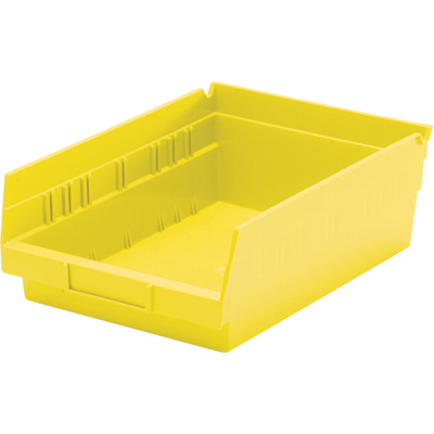 Quantum Storage Economy Shelf Bin — 11 5/8in. x 8 3/8in. x 4in. Size, Yellow, Carton of 20, Model# QSB 103 Y