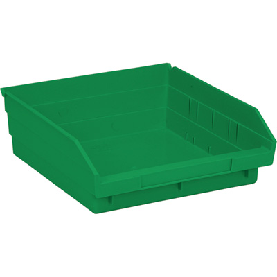 Quantum Storage Economy Shelf Bins — 11 5/8in. x 11 1/8in. x 4in. Size, Green, Carton of 8, Model# QSB 109 GN
