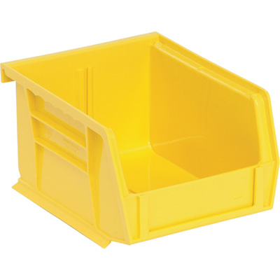 Quantum Storage Heavy Duty Stacking Bins — 5 3/8in. x 4 1/8in. x 3in. Size, Yellow, Carton of 24
