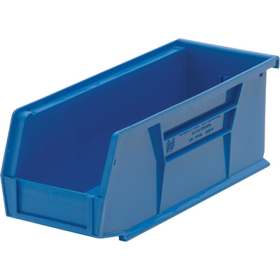 Quantum Storage Heavy Duty Stacking Bins — 10 7/8in. x 4 1/8in. x 4in. Size, Blue, Carton of 12