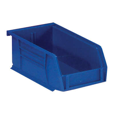 Quantum Storage Heavy Duty Stacking Bins — 10 7/8in. x 5 1/2in. x 5in. Size, Blue, Carton of 12