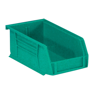 Quantum Storage Heavy Duty Stacking Bins — 10 7/8in. x 5 1/2in. x 5in. Size, Green, Carton of 12